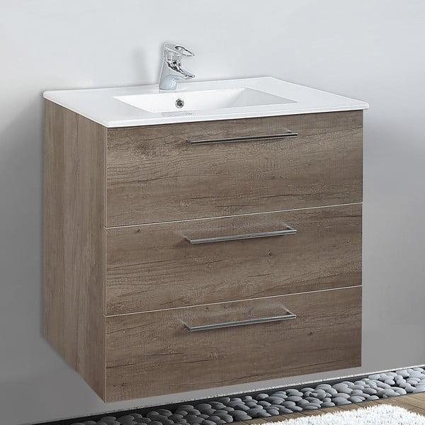 Szafka do łazienki z umywalką i lustrem Darwin, motyw dębu, 70 cm