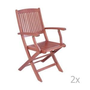 Zestaw 2 ogrodowych krzeseł składanych z drewna eukaliptusowego z podłokietnikami ADDU Stockholm