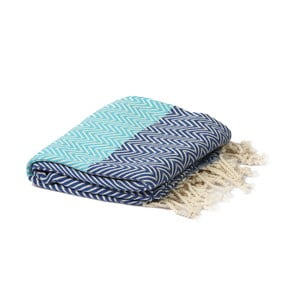 Turkusowo-niebieski ręcznik hammam Spa Time Zig, 95x180cm