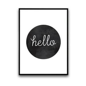 Plakat w drewnianej ramie Hello Black, 38x28 cm