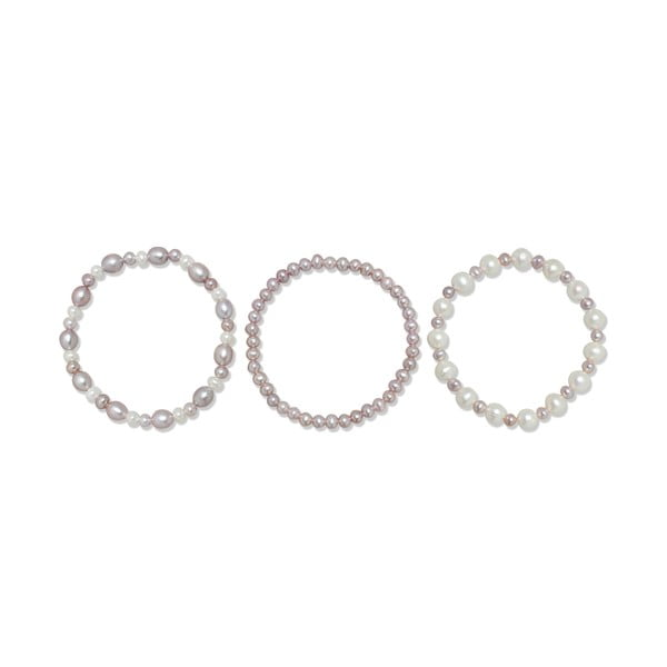 Bransoletka Pure Pearls Violet Shades, 3 szt.