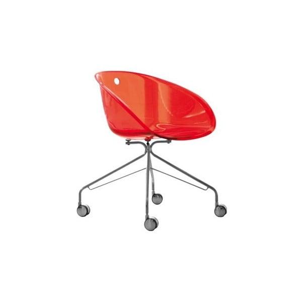 Czerwone krzesło na kółkach Pedrali Gliss