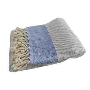 Niebiesko-biały ręcznie tkany ręcznik z bawełny premium Nefes,100x180 cm