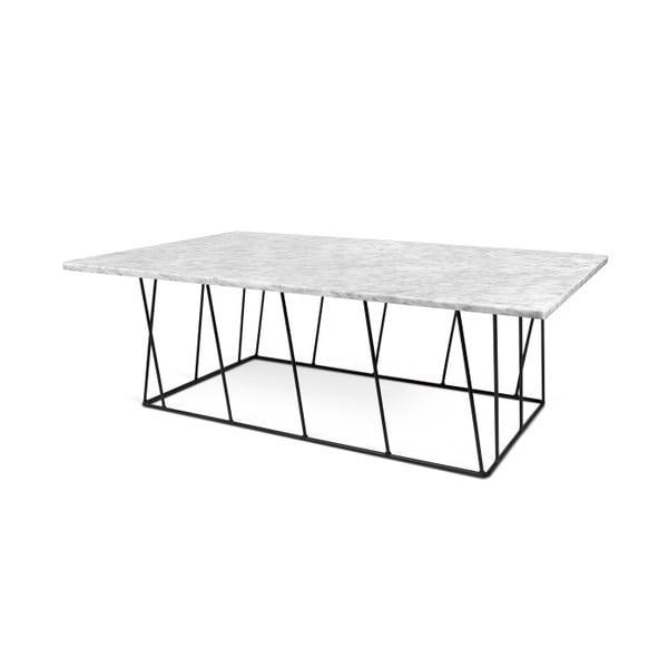 Biały stolik marmurowy z czarnymi nogami TemaHome Helix, 120 cm
