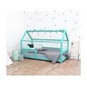 Turkusowe łóżko dziecięce z bokami z naturalnego drewna świerkowego Benlemi Tery, 90x190 cm