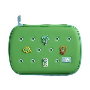 Zielony piórnik z 4 dekoracyjnymi przypinkami TINC Buds