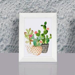 Obraz w ramie Dekorjinal Pouff Succulents, 23x17cm