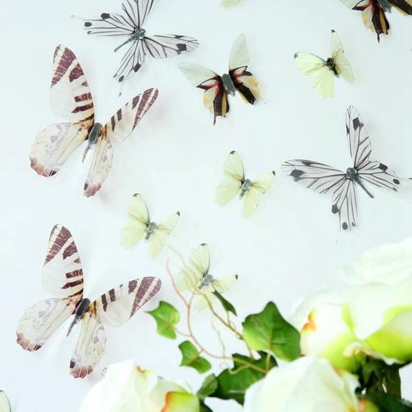 Zestaw 18 naklejek elektrostatycznych 3D Ambiance Butterflies Chic White