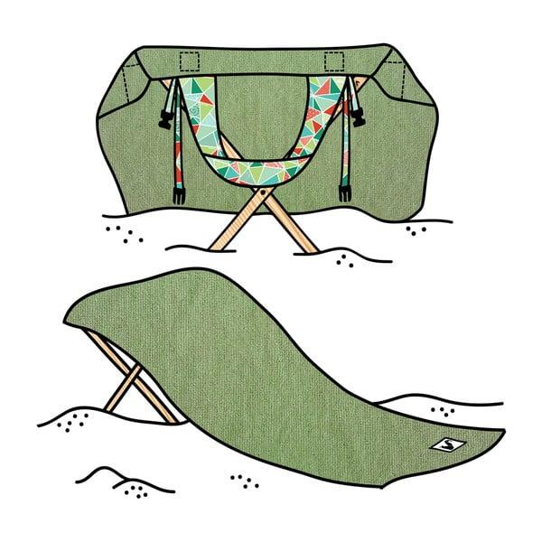 Leżak i ręcznik plażowy w jednym Sun Seat Olive Geo