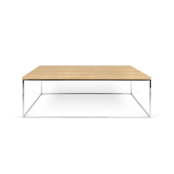 Dębowy stolik z chromowanymi nogami TemaHome Gleam, 120 cm