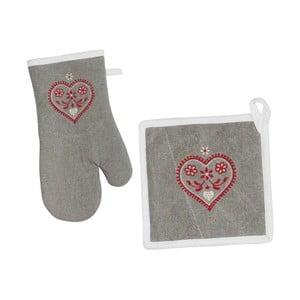 Rękawica i łapka kuchenna Grey Heart
