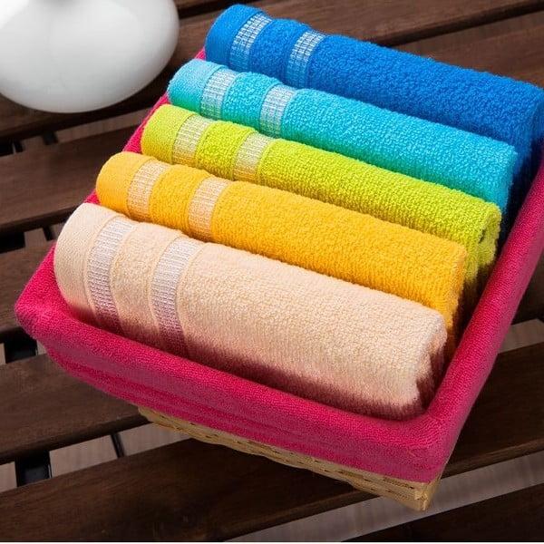 Zestaw 5 ręczników Fuchsia Basket, 30x50 cm
