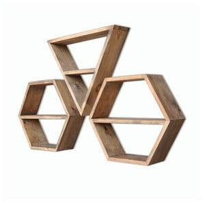 Zestaw 3 półek drewnianych Hexa