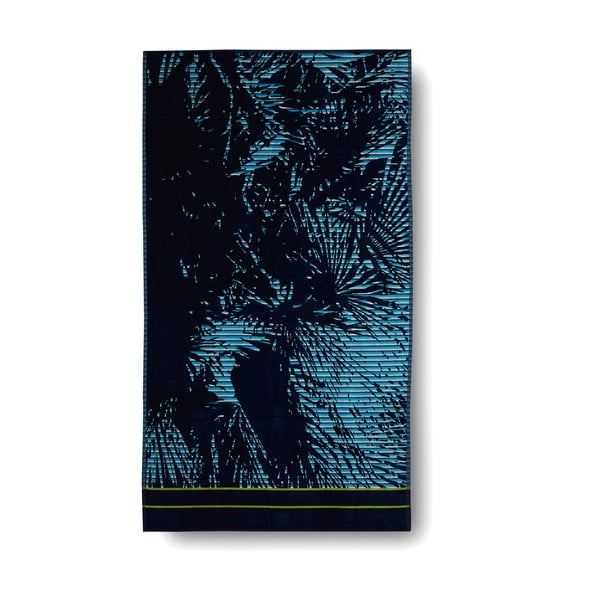 Niebieski ręcznik kąpielowy Palm Blue, 100x180 cm