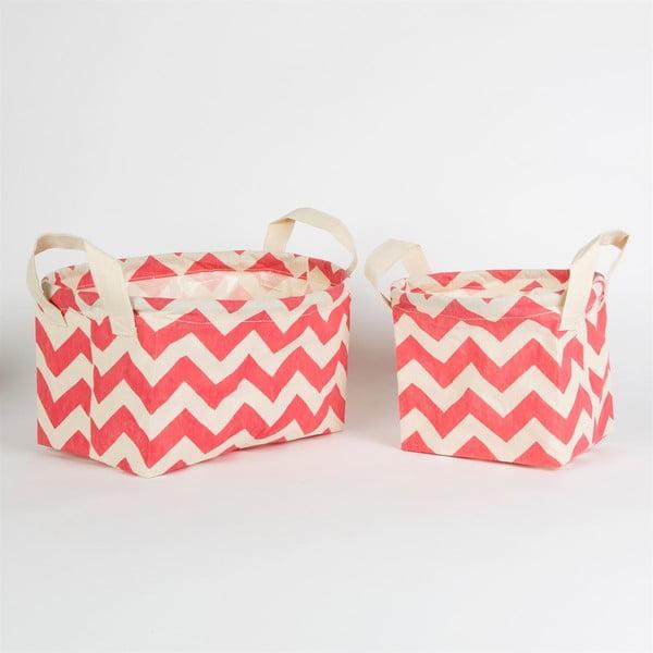 Zestaw 2 różowych koszyków Sass & Belle Chevron