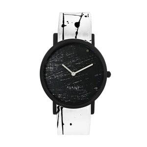 Czarny zegarek unisex z biało-czarnym paskiem South Lane Stockholm Avant Raw