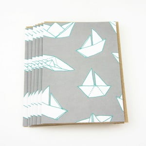 Komplet 6 kartek na życzenia Boats