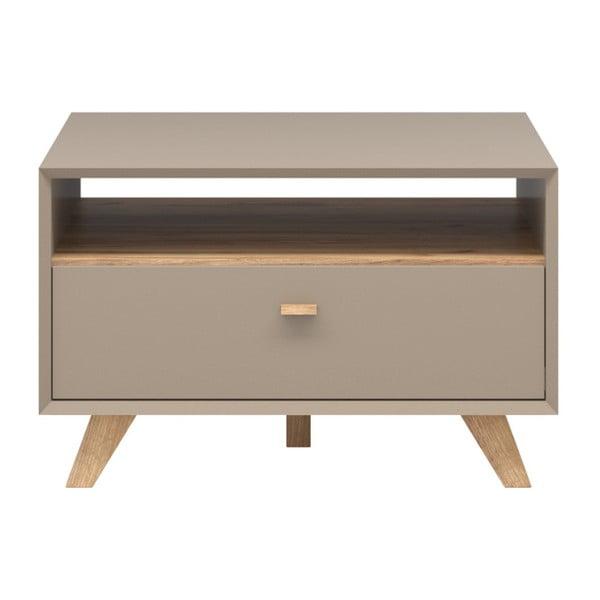 Szary stolik z szufladą i elementami w kolorze drewna Germania Calvi