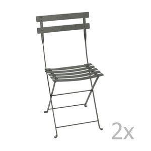 Zestaw 2 szarych krzeseł składanych Fermob Bistro