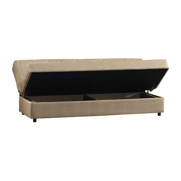 Kremowa trzyosobowa sofa rozkładana ze schowkiem Esidra Pause