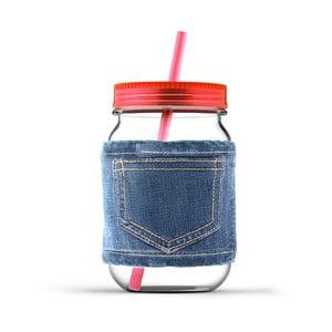 Słoik ze słomką Jeans Red