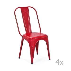 Zestaw 4 czerwonych krzeseł metalowych do jadalni Interlink Aix