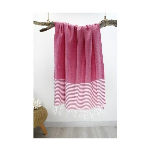 Różowy ręcznik z białymi pasami hammam Marine Style Fuchsia, 100x180 cm
