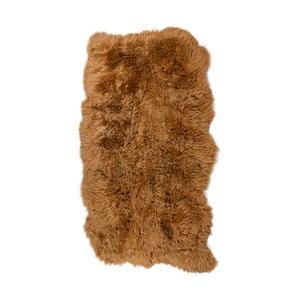 Brązowy dywan skórzany z długim włosiem Hanna, 180x120cm