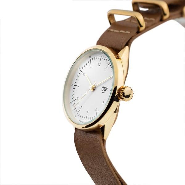 Zegarek z brązowym paskiem i złoto-z białym cyferblatem CHPO Harold Mini