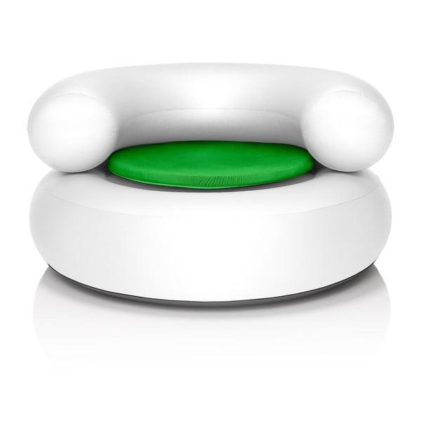 Fotel dmuchany CH-AIR, biały z zieloną poduszką