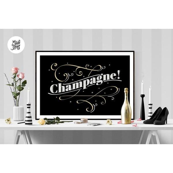 Plakat Champagne BW, A3