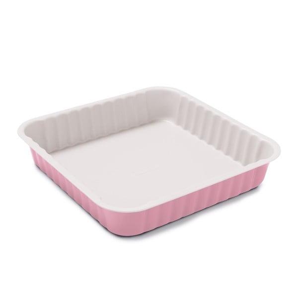 Forma do pieczenia z warstwą ceramiczną, różowa, 24x24x5 cm