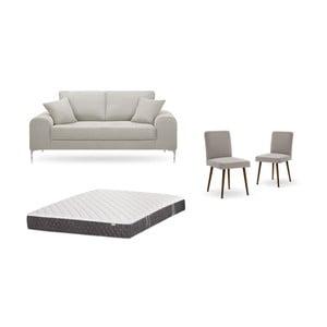 Zestaw 2-osobowej kremowej sofy, 2 szarobrązowych krzeseł i materaca 140x200 cm Home Essentials