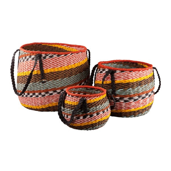 Komplet 3 okrągłych koszyków Ethno z uchwytami