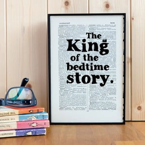 Plakat w   drewnianej ramie King of the Bedtime Story