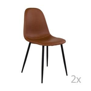 Zestaw 2 brązowych krzeseł z czarnymi nogami House Nordic Stockholm