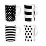 Zestaw 4 kubków Premier Housewares Spots and Stripes Black, 270 ml