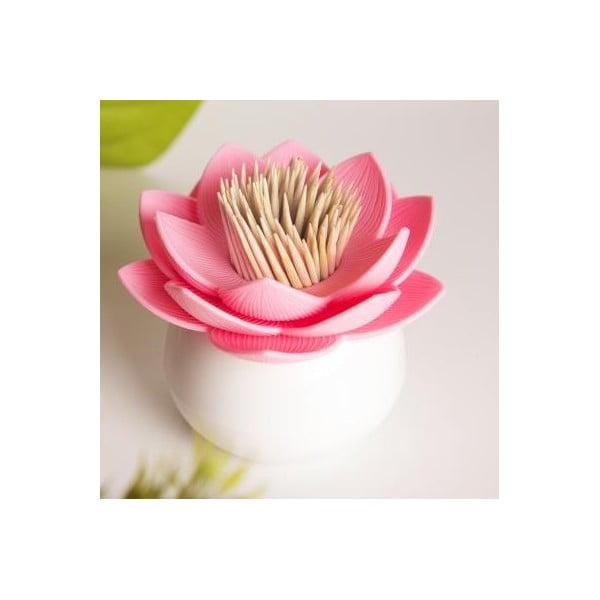 Pojemnik na wykałaczki QUALY Lotus Toothpick, biały/różowy
