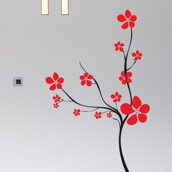 Naklejka ścienna Krzew z kwiatami, czerń i czerwień