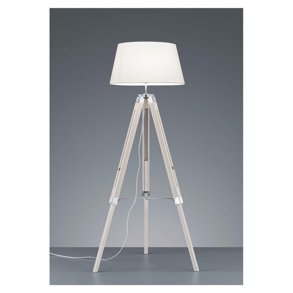 Biała lampa stojąca z naturalnego drewna i tkaniny Trio Tripod, wys. 143 cm