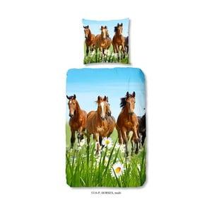 Dziecięca pościel bawełniana Good Morning Horses, 140x200 cm