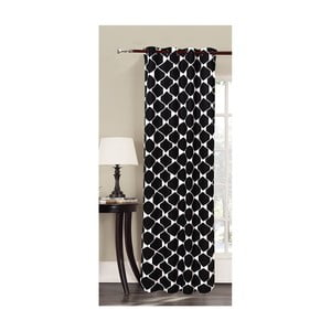 Czarna zasłona we wzory z mikrowłókna DecoKing Rhombuses, 140x245 cm