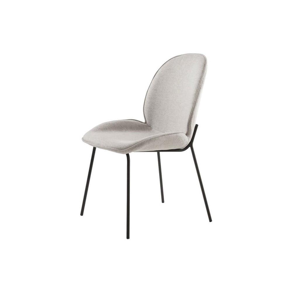 Szare krzesło z aksamitną powierzchnią i metalową konstrukcją Canett Hella