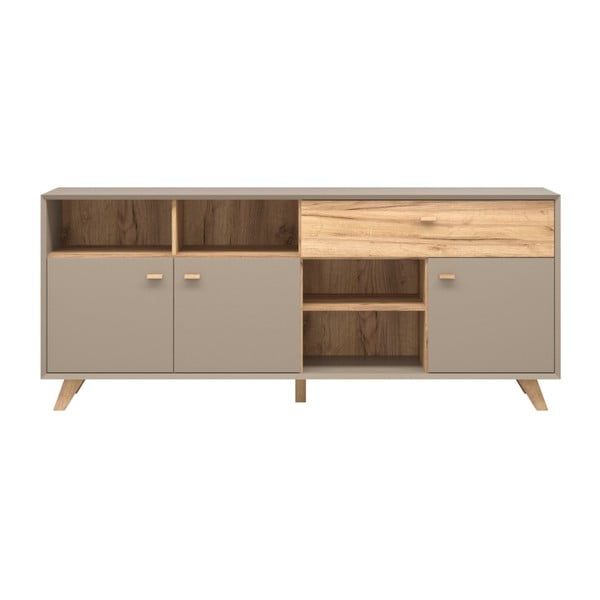 Szara komoda 3-drzwiowa z szufladą z dekorem drewna dębowego Germania Calvi