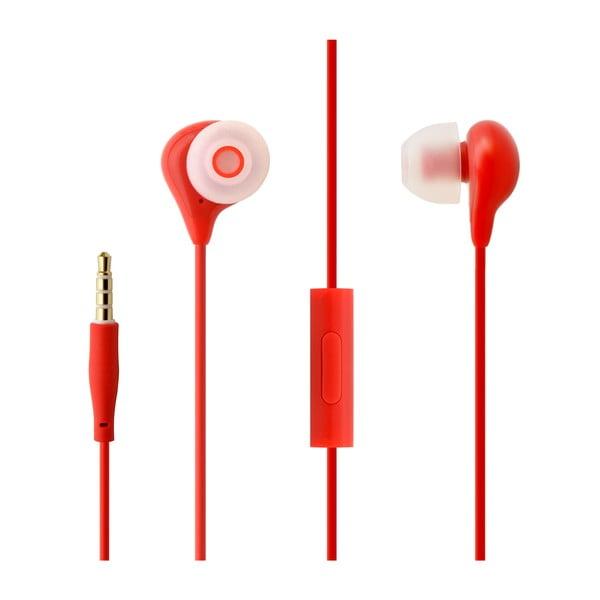 Słuchawki dokanałowe z mikrofonem FIXED EGG1, czerwone