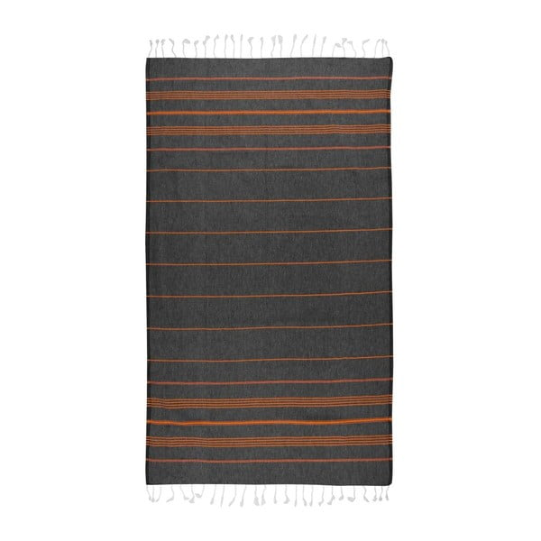 Ręcznik hammam Cross Black Orange, 95x175 cm