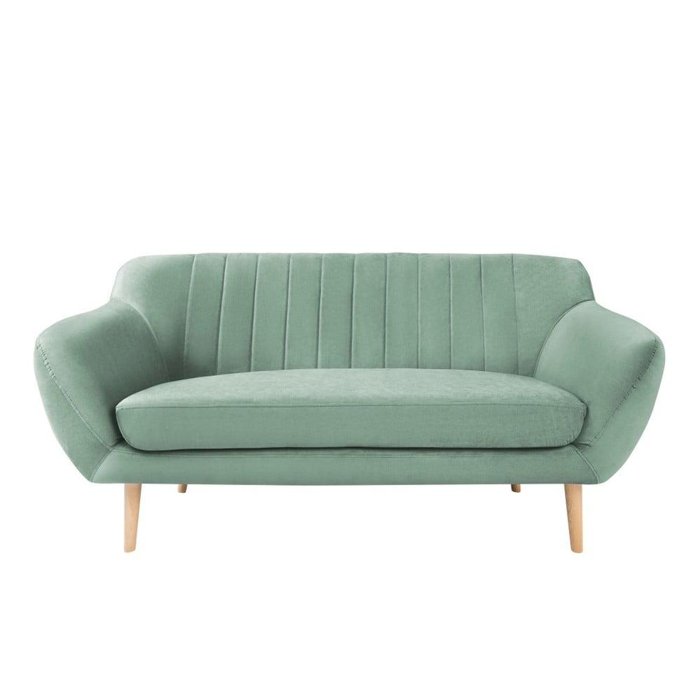 Miętowa sofa 2-osobowa z jasnymi nogami Mazzini Sofas Sardaigne