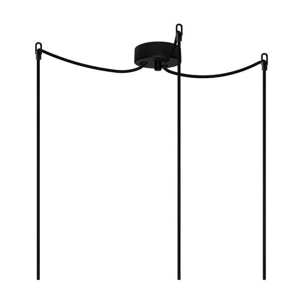 Czarno-miedziana potrójna lampa wisząca Bulb Attack