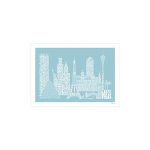 Plakat Las Vegas Blue&White, 50x70 cm