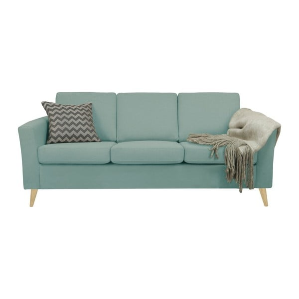 Niebieskoszara sofa 3-osobowa z naturalnymi nogami Helga Interiors Alex